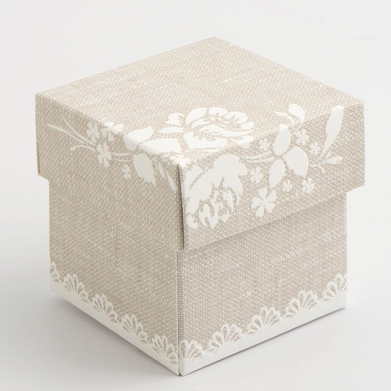 Wedding Birthday Anniversary 10 Pack Jewellery Gift Pearl Grey Vintage Shabby Chic Square Box With Lid Favour Boxes
