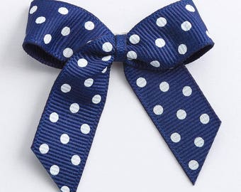 Navy Blue Self Adhesive Polka Dot Grosgrain Ribbon Pre Tied 5cm Bows