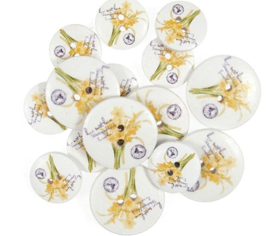 Flower Shaped Micro Mini Buttons Trimits Paper Craft Yellow