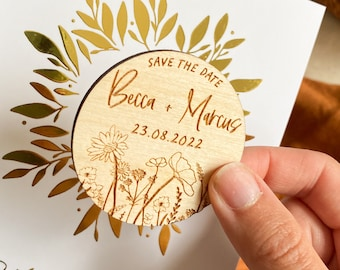 Floral Save the Date Magnet, Personalised Wooden Floral Save the Dates, Wooden Save The Date, Botanical Save the Dates, Rustic Save The Date