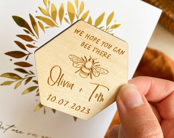 Bee Wedding Save the Date, Wooden Save the Date, Rustic Save the Date, Botanical Save the Dates, Spring Wedding Magnets