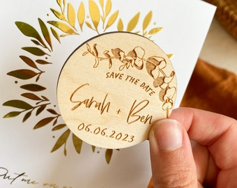 Eucalyptus Wedding Save the Date Magnets, Botanical Wedding Magnet, Floral Personalised Save the Date Magnets, Simple Minimal Save the Date