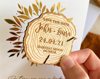 Save the Date Magnet Wooden Log Slice, Wooden Log Save the Date, Rustic Save The Dates, Woodland Wedding, Personalised Save the Date Magnet