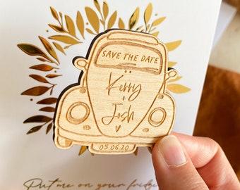 Vintage Beetle Save the Date Magnet, VW Beetle Wooden Save the Date, Personalised Vintage Car Save the date, Wedding Car Save the Date
