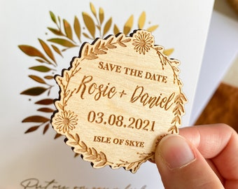 Save the Date Magnet Floral Wreath, Wooden Save The Date, Rustic Save The Date, Minimal Botanical Daisy Save The Date, Modern Save The Date