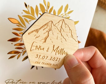 Mountain Wooden Save the Date Magnet, Personalised Mountain Wedding Save the Date, Outdoor & Nature Wedding Theme, Boho Rustic Save the date
