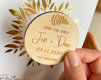 Fern Save the Date, Wooden Save the Date Magnet, Botanical Save the date, Rustic Save the Dates, Boho Wedding Magnet, Woodland Save the Date