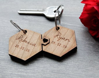 Valentines Personalised Keyring, His & Hers Matching Keyring, Wooden Engraved Keyring, Personalised Wedding Favour, Jigsaw Keyring, Hexagon