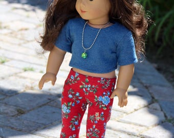 """18"""" Doll clothes Blue Crop Tee with Blue and Red Floral Leggings to Fit Like American Girl Doll Clothes, 18"""" Doll Outfit, Doll Leggings"""