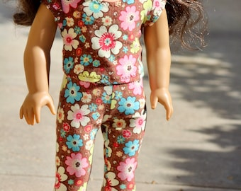 """18"""" Doll Flower Crop Top or Leggings to Fit Like American Girl Doll Clothes, 18"""" Doll Outfit, 18"""" Doll Leggings, Modern 18"""" Doll Clothes"""