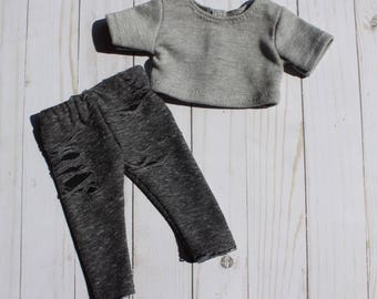 """18"""" Doll Distressed Leggings and Gray Crop Top to Fit Like American Girl Doll Clothes, 18"""" Doll Clothes, AG Doll Outfit, 18 Inch Doll Outfit"""
