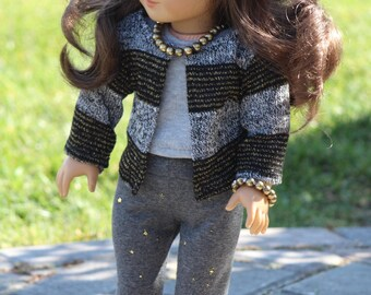 """18"""" Doll Striped Sweater, Gray Top and Gray Leggings to Fit Like American Girl Doll Clothes, 18"""" Doll Clothes, AG Doll Outfit, 18"""" Girl Doll"""