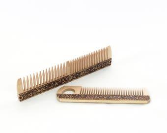 Wood combs, Set of 2, natural birch