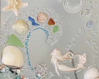 8 x 10 Whimsical Mermaid in Wave Sea Glass Art Frame