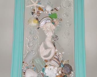 11 x 18 Victorian Mermaid Sea Glass Art Frame