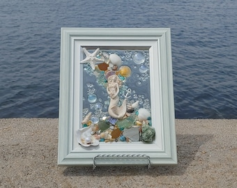 5 x 7 Mini Victorian Mermaid Sea Glass Art Frame
