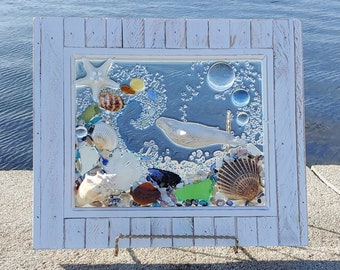 8 x 10 Humpback Whale Seaglass Art Frame