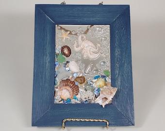 5 x 7 Octopus Sea Glass Art Frame