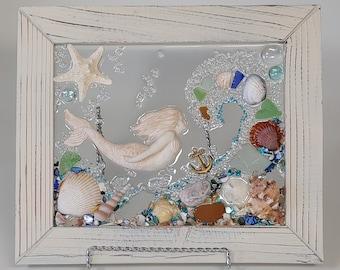 8 x 10 Mermaid Swimming with Wave Sea Glass Art Frame