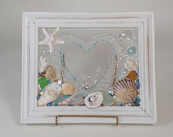 8 x 10 Sea Glass Heart Frame with Personalized Option