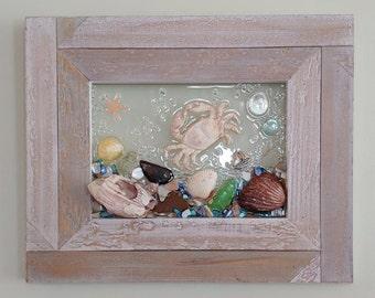 5x7 Crab Sea Glass Art Frame
