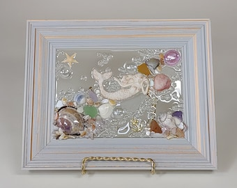 5 x 7 Lounging Mermaid Sea Glass Art Frame
