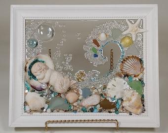 8 x 10 Merbaby in Shell or Heart Sea Glass Art Frame.