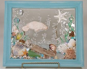 8 x 10 Manatee Sea glass art Frame