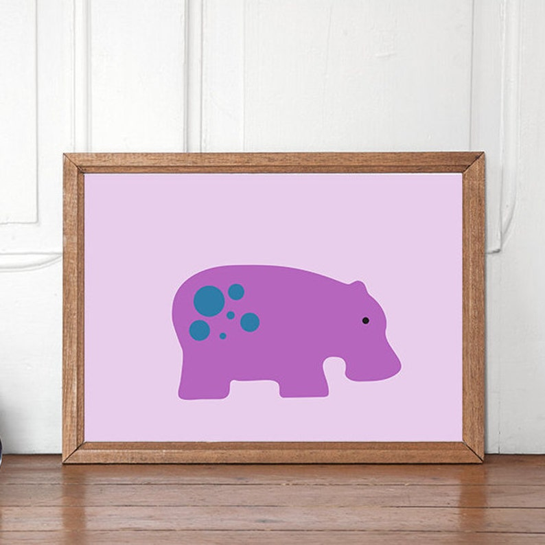 Hippo PRINTABLE poster, Purple Hippo, Hippo Print, Animal Print, Kids Room  Decor, Kids Room Print, Nursery decor, Nursery print, Kids poster