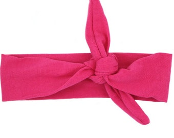 Bright Pink Top Knot Headband