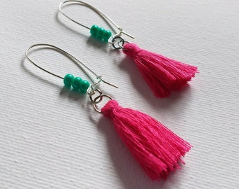Earrings, Tassel, Mother's Day, Girlfriend, Sister, Daughter, Gift, Pierced Earrings, Pink, Turquoise