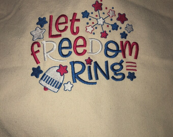 Heavy Duty 12 oz Canvas Tote Bag, USA bag, let freedom ring, 4th of July bag,  patriotic bag, patriotic tote, 17x14x4 Inches.