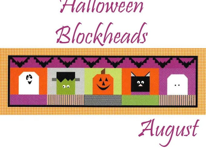 READY TO SHIP Riley Blake Monthly Table Runner Kit Halloween Blockheads - Shipping August 2019