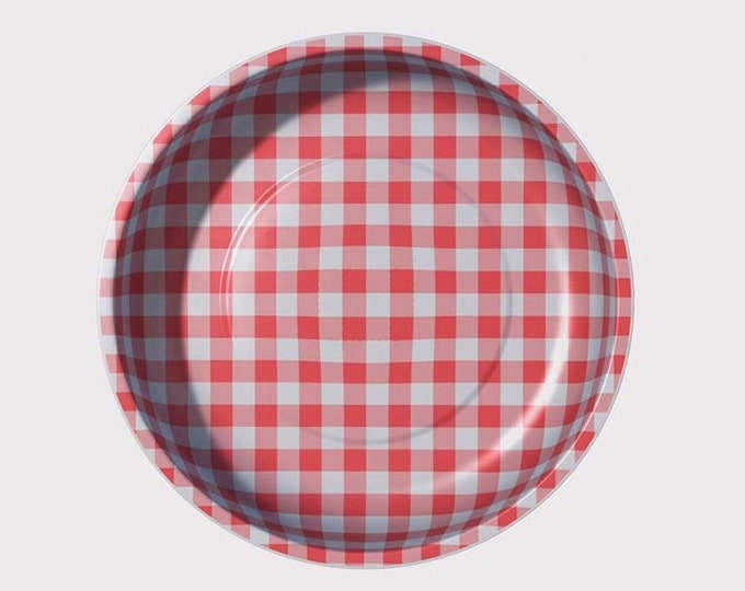 Pleasant Home Red Checkered Magnetic Pin Bowl