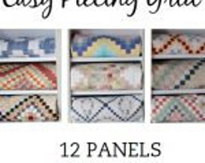 """Easy Piecing Grid 12 PANELS for 2"""" Finished Squares for Tensisters by Carmen Geddes"""