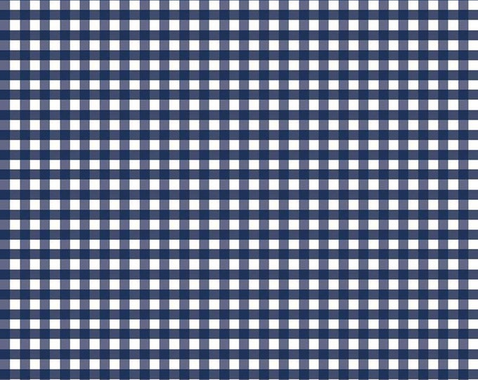 1/4 Woven Gingham Navy Fabric by Riley Blake Designs