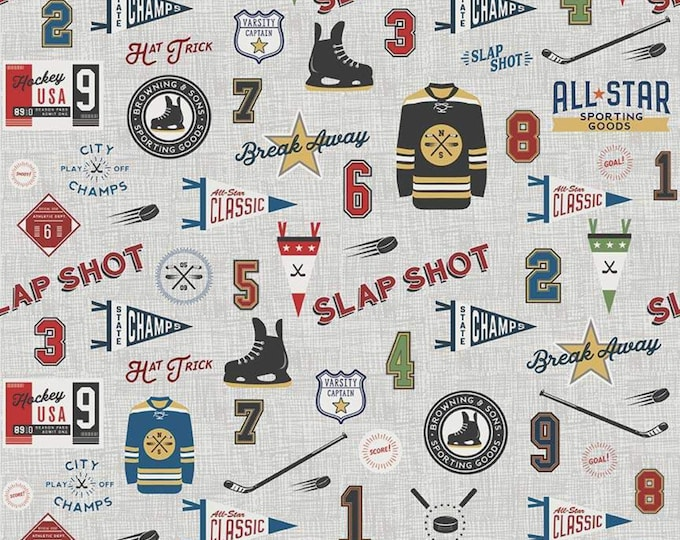 Varsity Hockey Main Gray Fabric by Deena Ruttler for Riley Blake Designs
