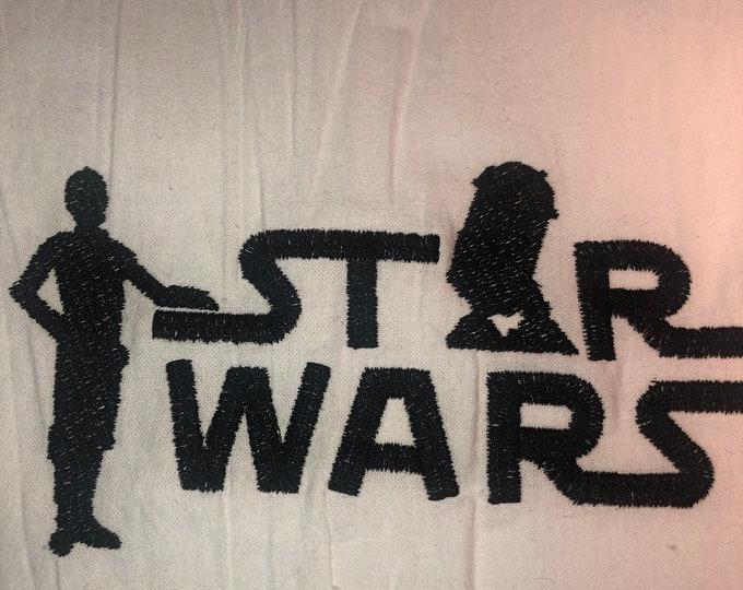 Kitchen Embroidered Tea Towel, Kitchen Table, Flour Sack Towel, kItchen Tea Towel, Star Wars