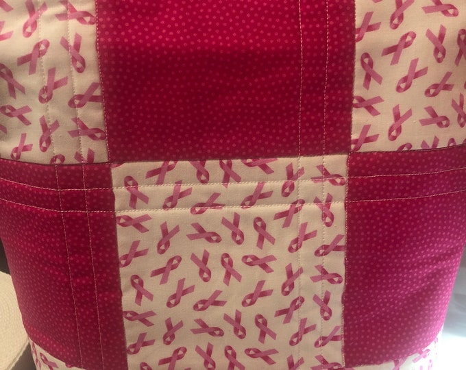 Breast Cancer Quilted bag, bag, tote, quilted bag, quilted tote, handmade bag, handmade tote, handmade quilt tote, handmade quilt bag