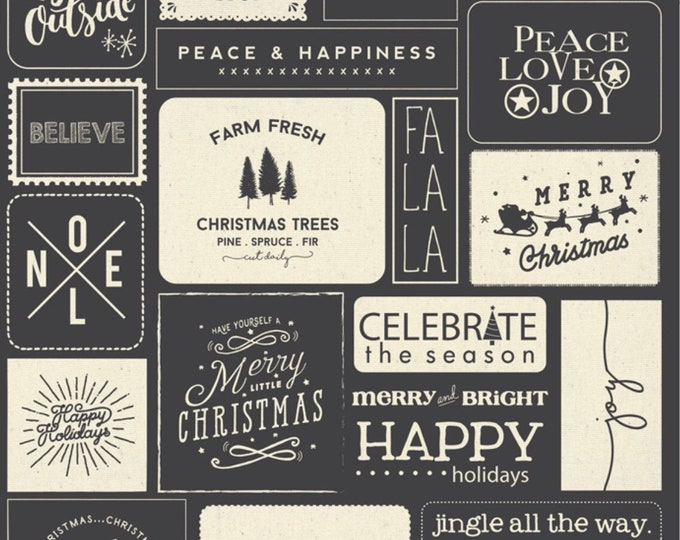 """Moda Printworks Christmas Wishes Quilt Canvas Panel by Sweetwater 54"""" X 65"""" - Black and Cream"""
