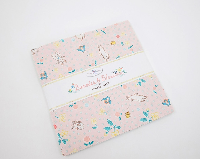 """Bunnies and Blossoms 10"""" Stacker by Lauren Nash for Penny Rose Fabrics - 42 Pieces"""