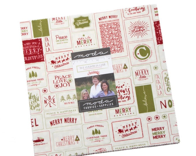 """Christmas Card  10"""" Layer Cake by Sweetwater for Moda - 42 Pieces"""