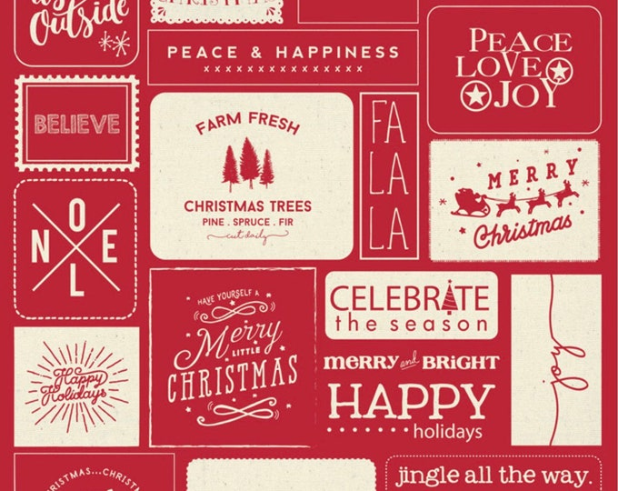 """Moda Printworks Christmas Wishes Quilt Canvas Panel by Sweetwater 54"""" X 65"""" - Red and Cream"""