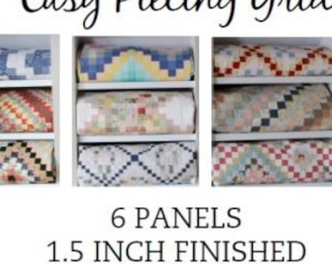 """Easy Piecing Grid 6 PANELS for 1.5"""" Finished Squares for Tensisters by Carmen Geddes"""