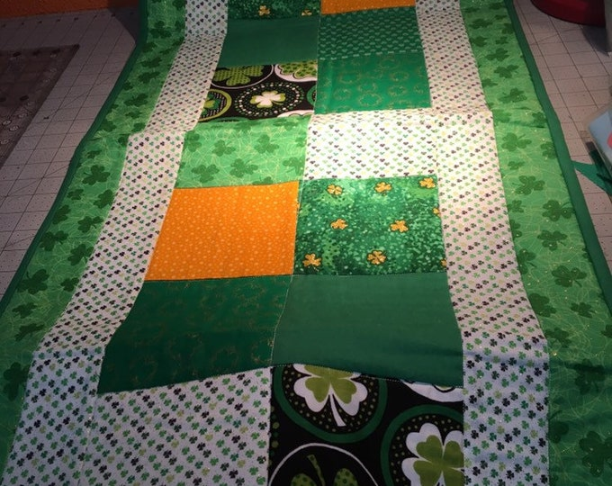 Quilted St. Patrick's Day Table Runner, Holiday Table Runner