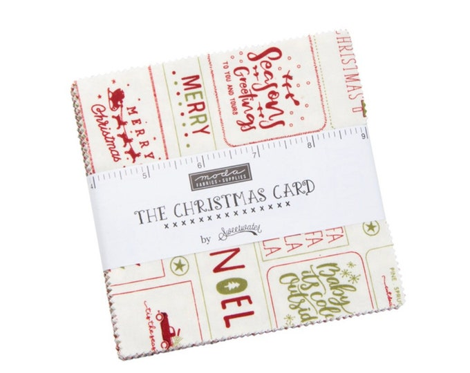 """Christmas Card  5"""" Charm Pack  by Sweetwater for Moda - 42 Pieces"""