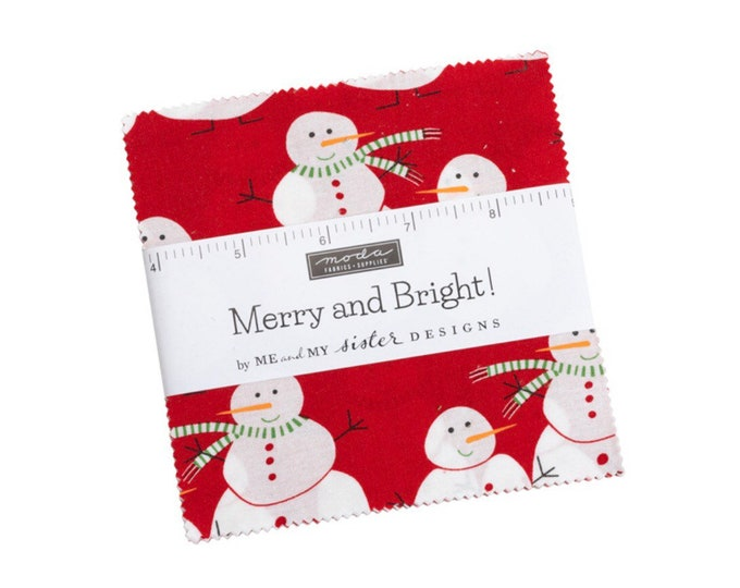 """Merry and Bright 5"""" Charm Pack by Me and My Sister Designs for Moda - 42 Pieces"""