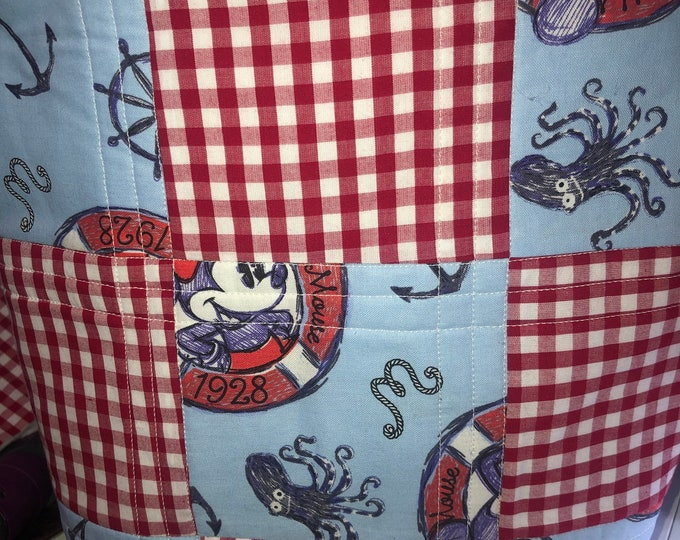 Quilted bag, mickey mouse bag, quilted bag, quilted tote, handmade bag, handmade tote, handmade quilt tote, handmade quilt bag, homemade bag