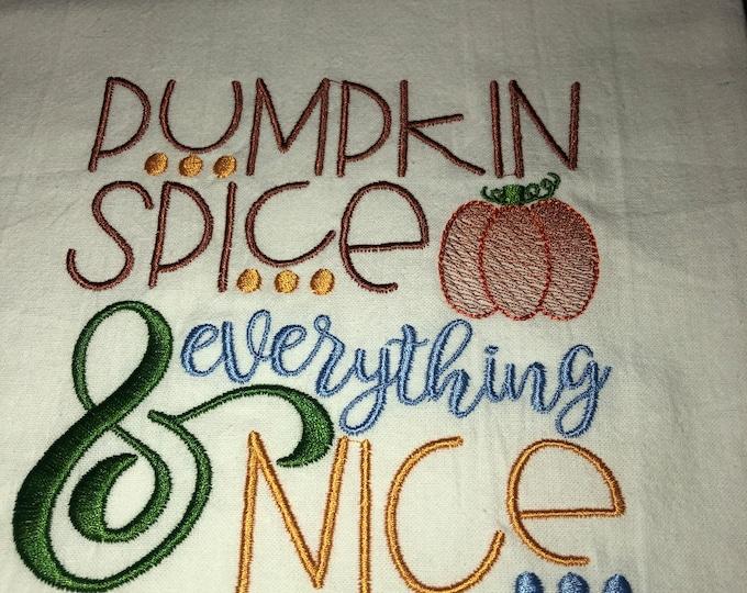 Fall Embroidered Tea Towel, Fall Table, Flour Sack Towel, kItchen Tea Towel, Fall Decor