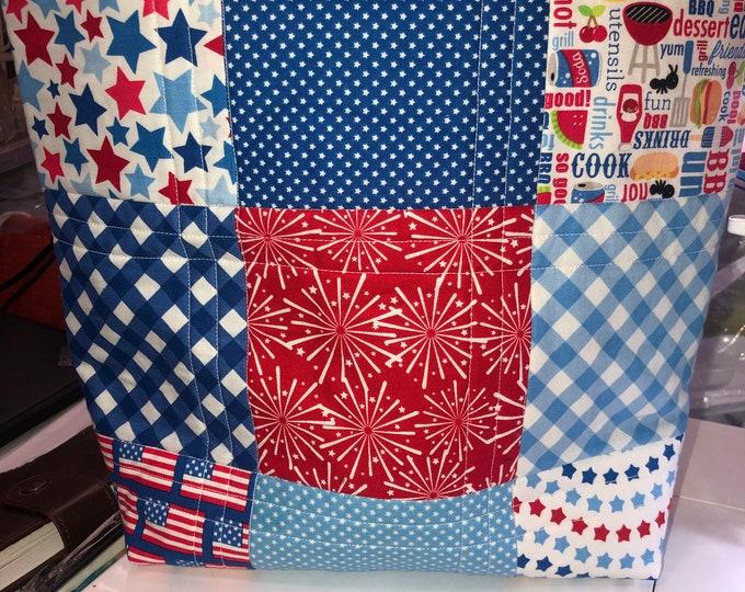 Quilted Bag, Patriotic Bag, Handmade Bag, 4th of July Bag, Independence bag
